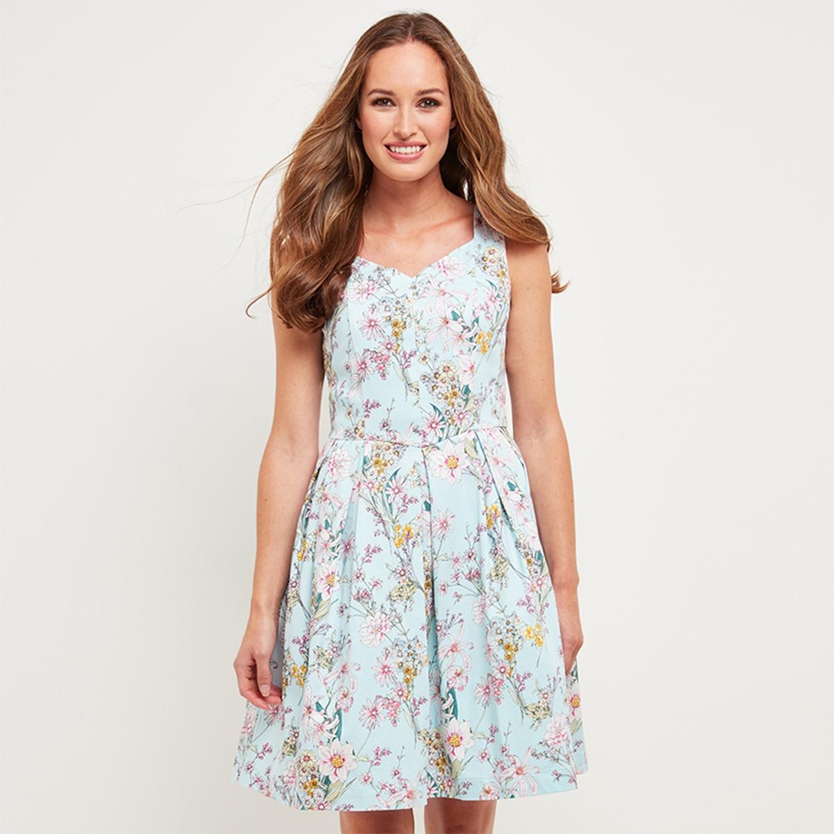 Платье расклешенное с цветочным рисунком, средней длины dr browns набор из 6 бутылочек с широким горлышком dr browns 240 мл полипропилен арт 455