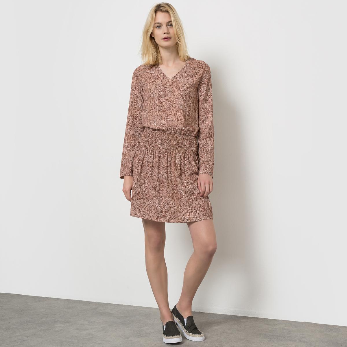 Платье с длинными рукавами и V-образным вырезом из крепа платье с воланом из жатого крепа