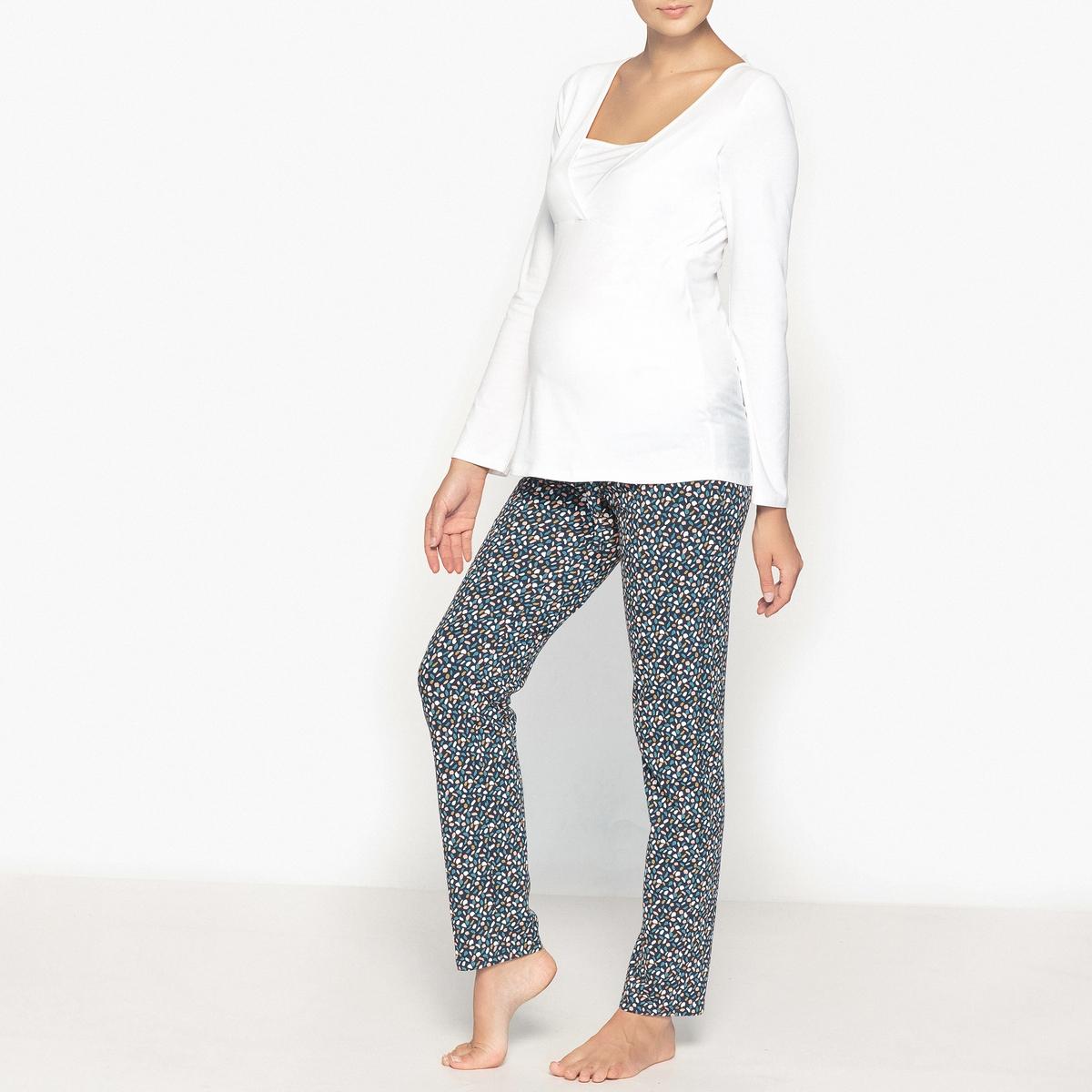 Пижама для беременности и периода грудного вскармливанияСтруящиеся брюки прямого покроя, зауженные снизу и с высоким поясом для поддержки живота. Эластичный пояс на завязках.     Состав и описание : Материал : 95% хлопка, 5% эластана.Длина :Верх : 68 смПо внутр.шву : 76 смМарка : CocoonУход:Стирать при 40° на деликатном режиме с изделиями схожих цветов.Стирать, сушить и гладить при низкой температуре с изнаночной стороны.<br><br>Цвет: белый/разноцветный рисунок