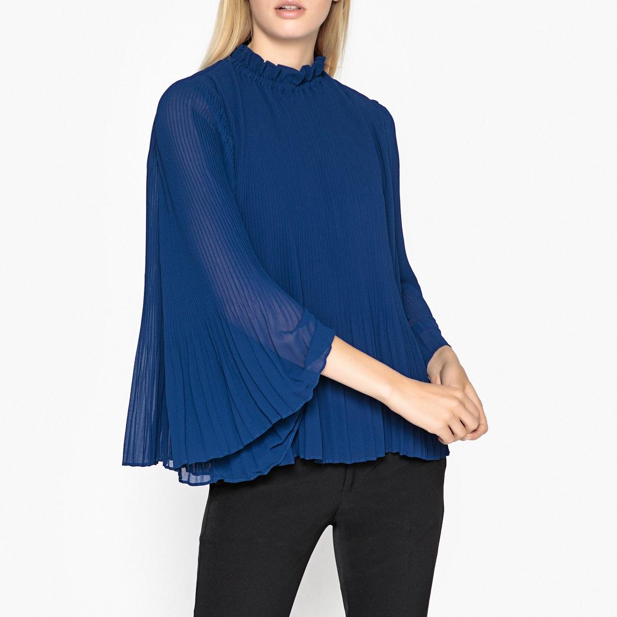 Блузка плиссированная с воротником-стойкой и длинными рукавами