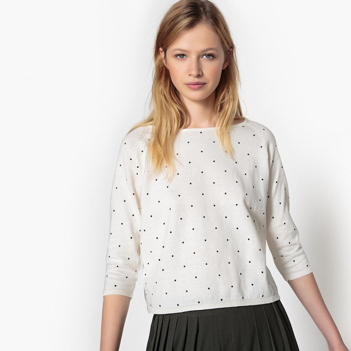 Пуловер с круглым вырезом и рисунком в горошек из тонкого трикотажа
