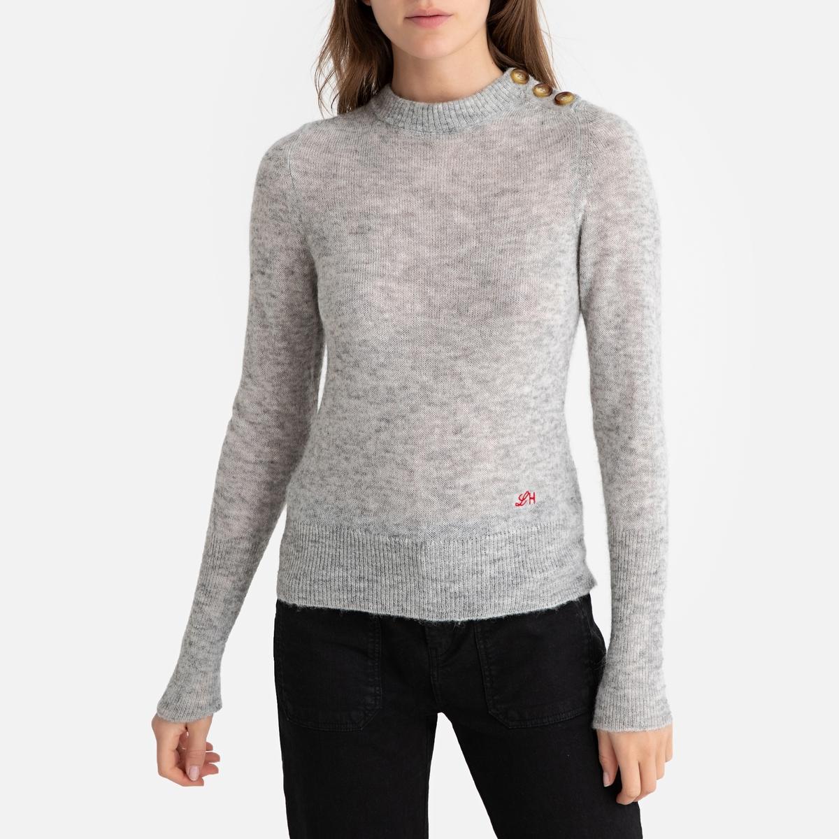 Пуловер La Redoute Из тонкого трикотажа с пуговицами на плече MANTECA M серый цена в Москве и Питере
