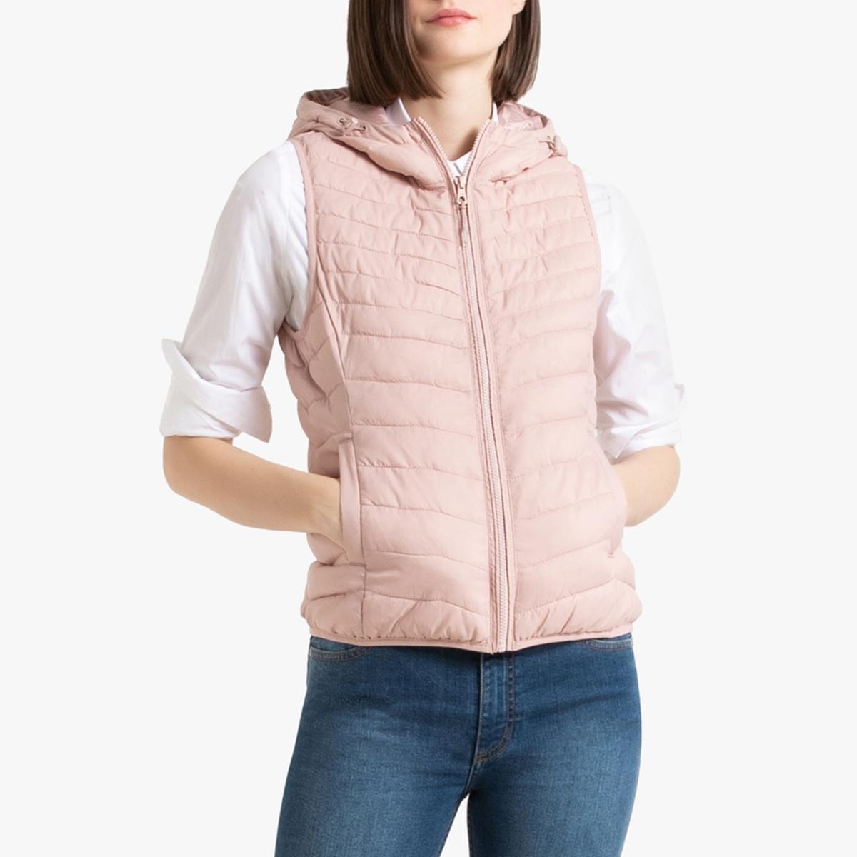 Жилет La Redoute Стеганый с капюшоном S розовый