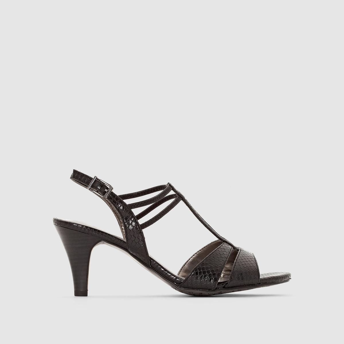 Босоножки на каблукеУльтраженственные босоножки на каблуке с тонкими двойными ремешками и застежкой на щиколотке: стиль и гламурность в любых обстоятельствах.<br><br>Цвет: черный<br>Размер: 41.37.38