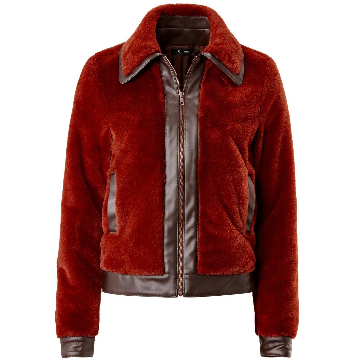 Блузон короткий из искусственной кожи.<br><br>Цвет: красно-коричневый<br>Размер: 38 (FR) - 44 (RUS).46 (FR) - 52 (RUS)
