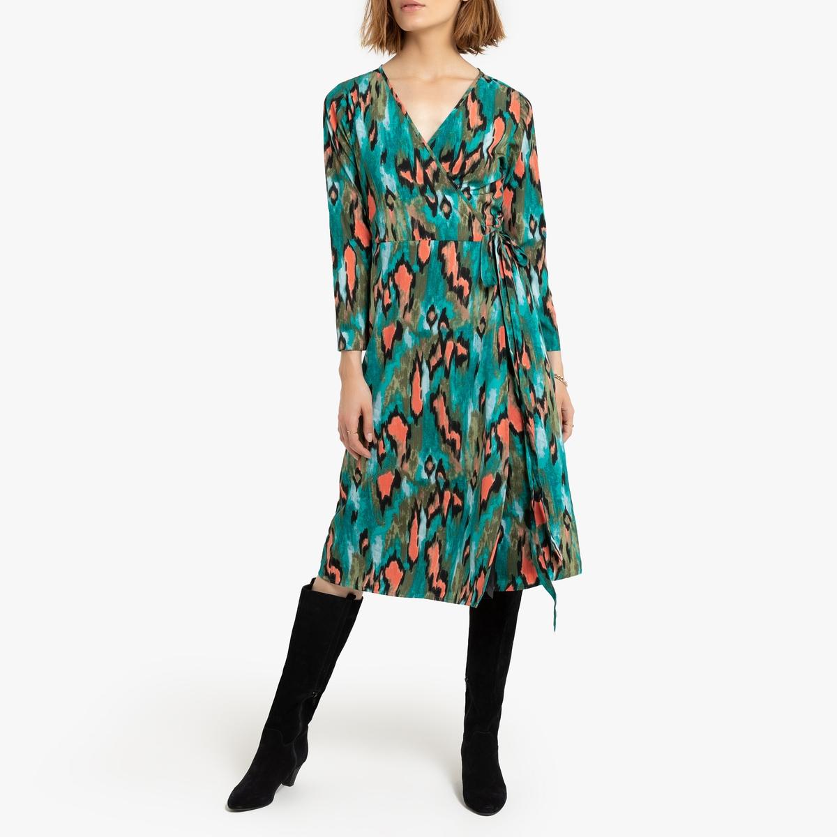 Платье-миди La Redoute С запахом струящееся M синий платье la redoute прямое струящееся cienna 2 m синий