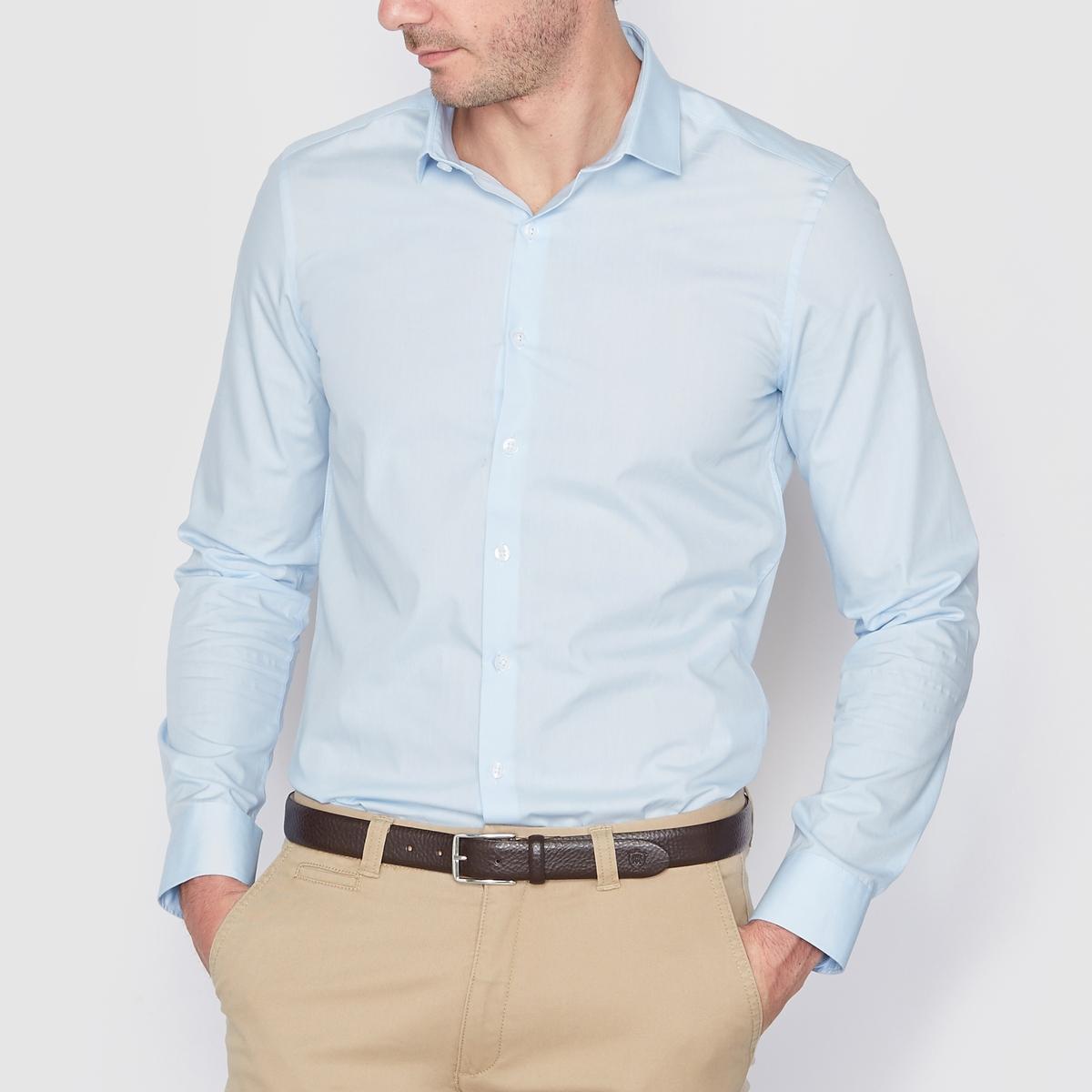 Рубашка узкого покроя 100% хлопкаРубашка из поплина, 100% хлопок. Узкий (облегающий) покрой. длинные рукава. Воротник со свободными уголками. Длина 77 см.<br><br>Цвет: небесно-голубой,серый,темно-синий<br>Размер: 47/48.47/48.45/46.47/48