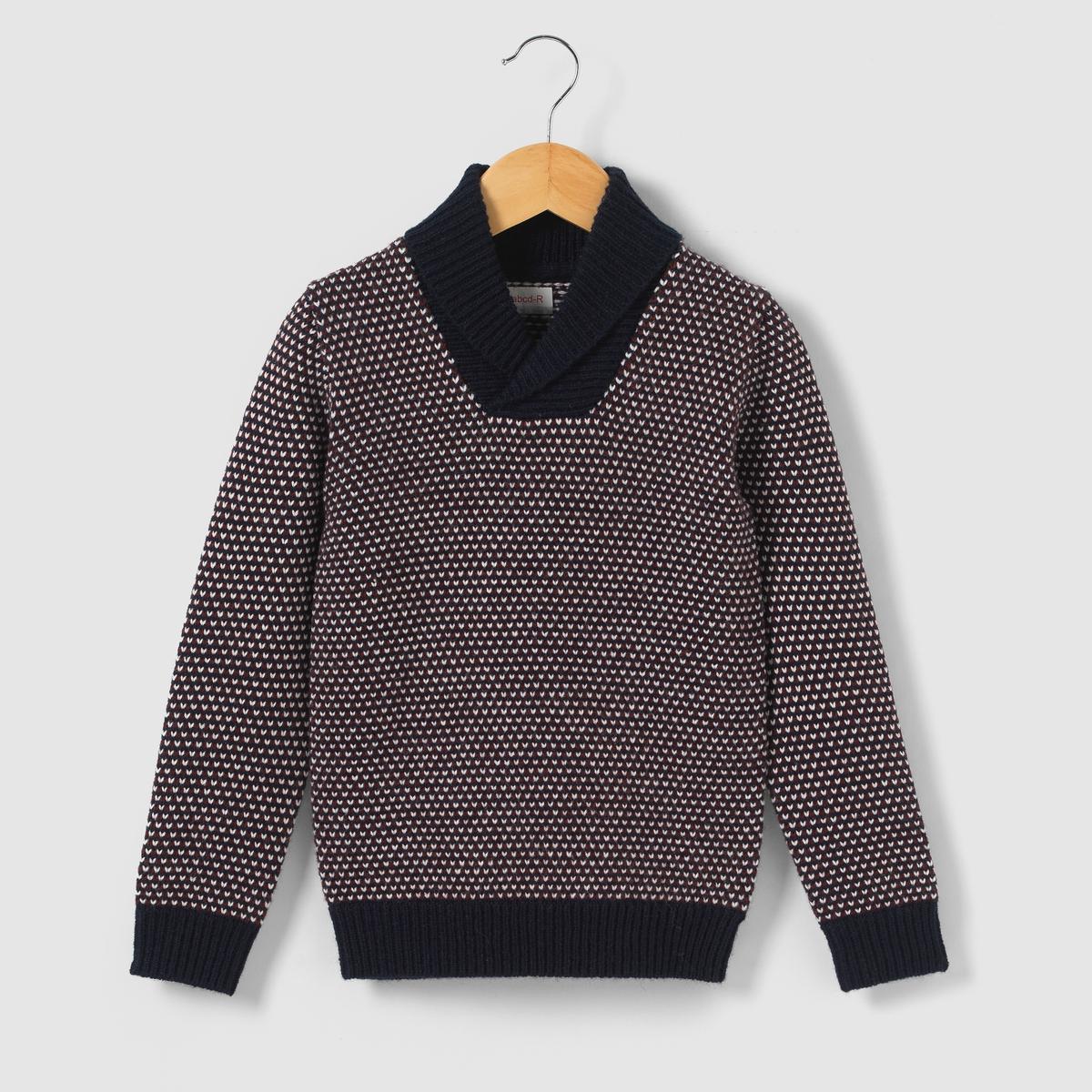 Пуловер теплый с шалевым воротником, 3-12 лет