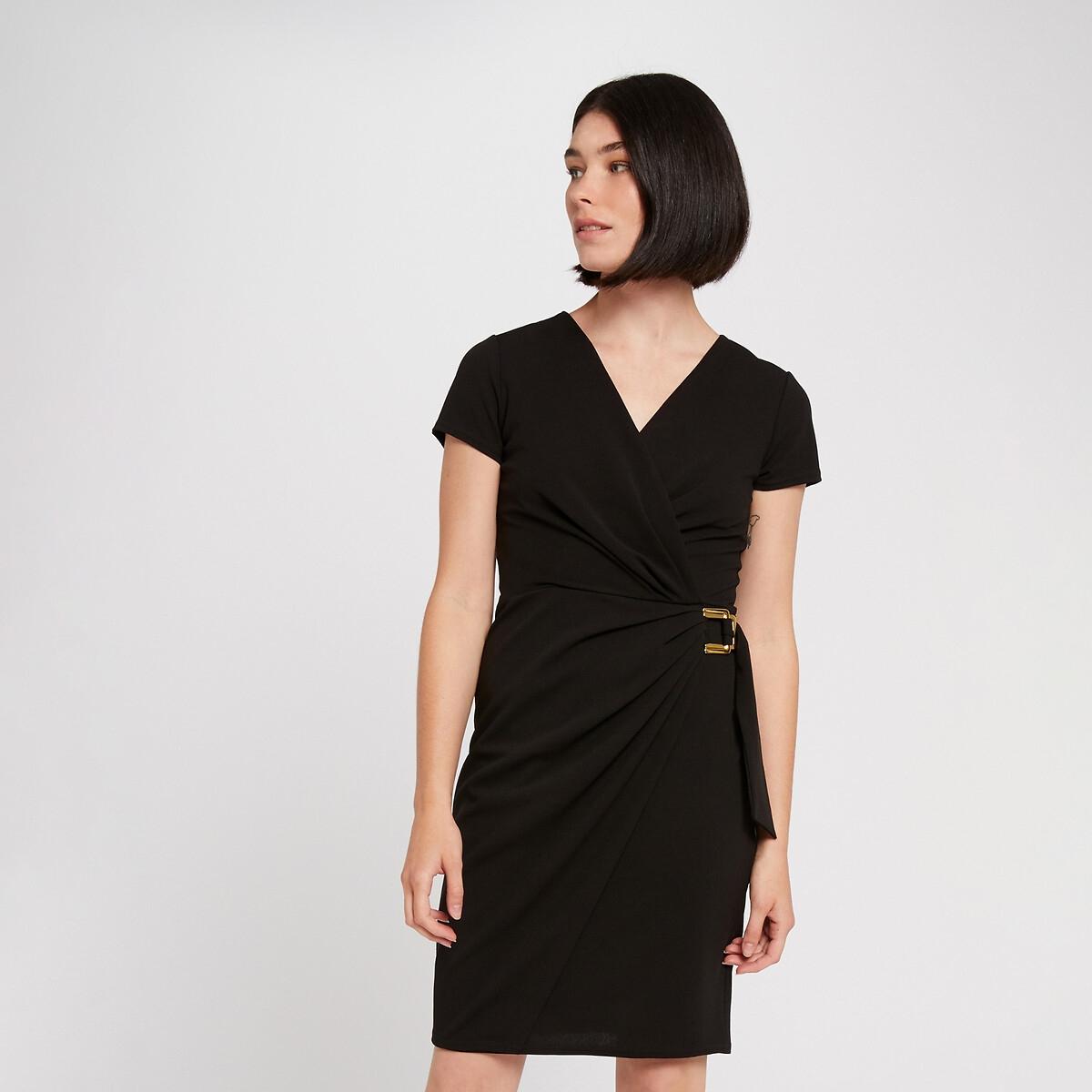 Фото - Платье LaRedoute С запахом укороченное с ремешком 36 (FR) - 42 (RUS) черный платье laredoute с запахом с рисунком 34 fr 40 rus синий