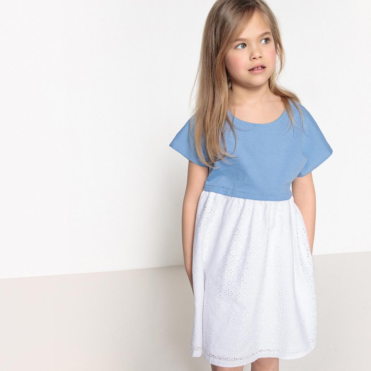 Платье из двух материалов  3-12 лет
