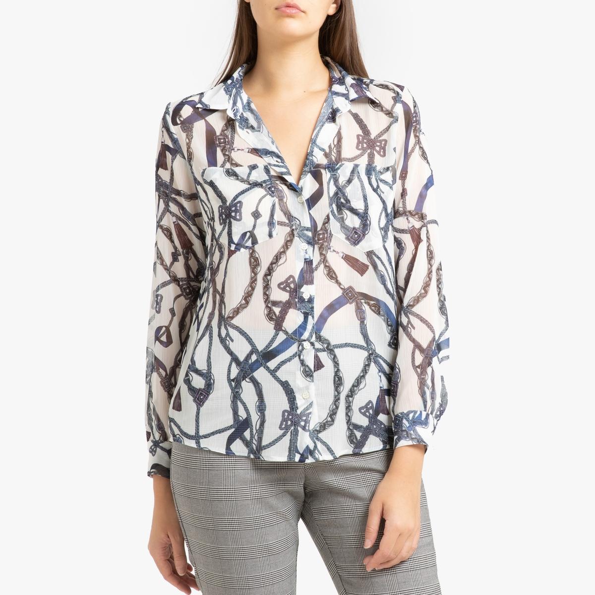Рубашка La Redoute С длинными рукавами 38 (FR) - 44 (RUS) белый цена 2017