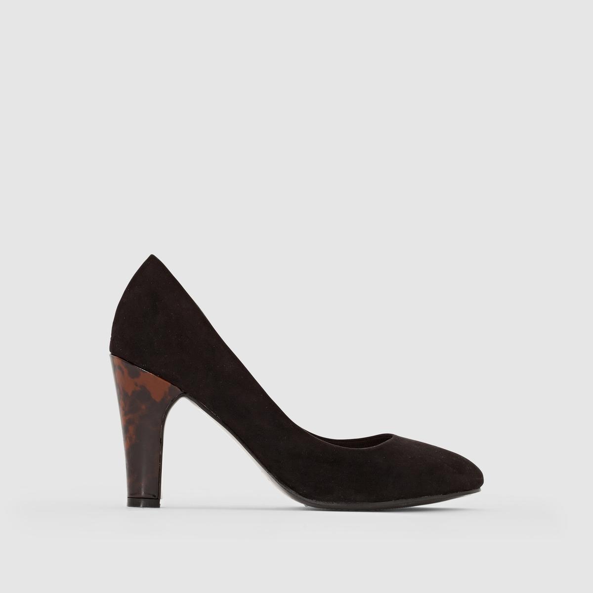 Туфли с оригинальным каблукомМарка : CASTALUNAПодходит : для широкой стопы.Верх : искусственная замша.Подкладка : текстиль.Стелька : кожа.Подошва : из эластомера.Каблук : 9 см.Преимущества : очень высокий оригинальный каблук.<br><br>Цвет: черный