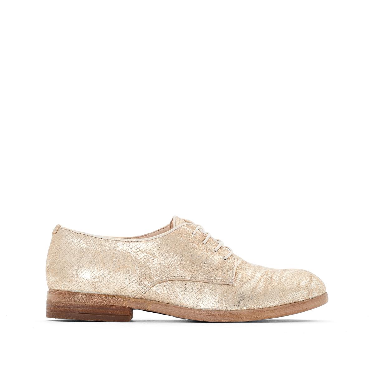 Ботинки-дерби из кожи NicoleВерх/Голенище: кожа.  Подкладка: кожа.  Стелька: кожа.  Подошва: резина.Высота каблука: 2 см.Форма каблука: плоский каблук.Мысок: закругленный.Застежка: шнуровка.<br><br>Цвет: золотистый<br>Размер: 36