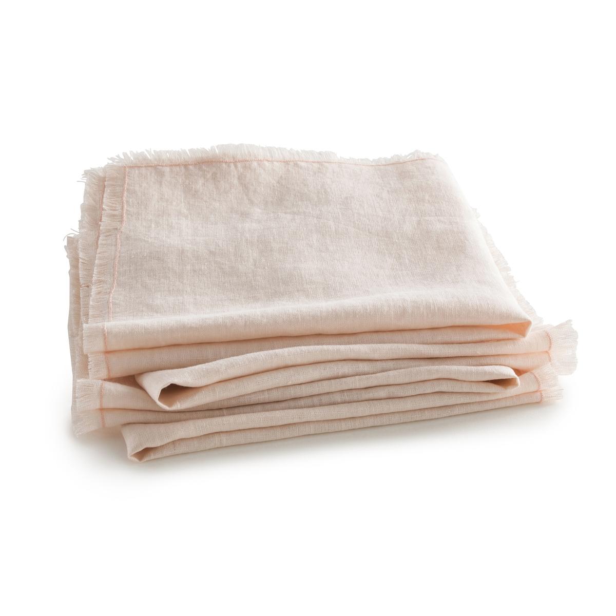 4 столовых салфетки из стиранного льна, Yastigi4 столовых салфетки Yastigi . Они сочетают натуральную мягкость стиранного льна и изысканность отделки бахромой .Материал :- 100% стираный лен Отделка :- Бахрома с 4 сторон .Размеры :- 40 x 40 см<br><br>Цвет: белый