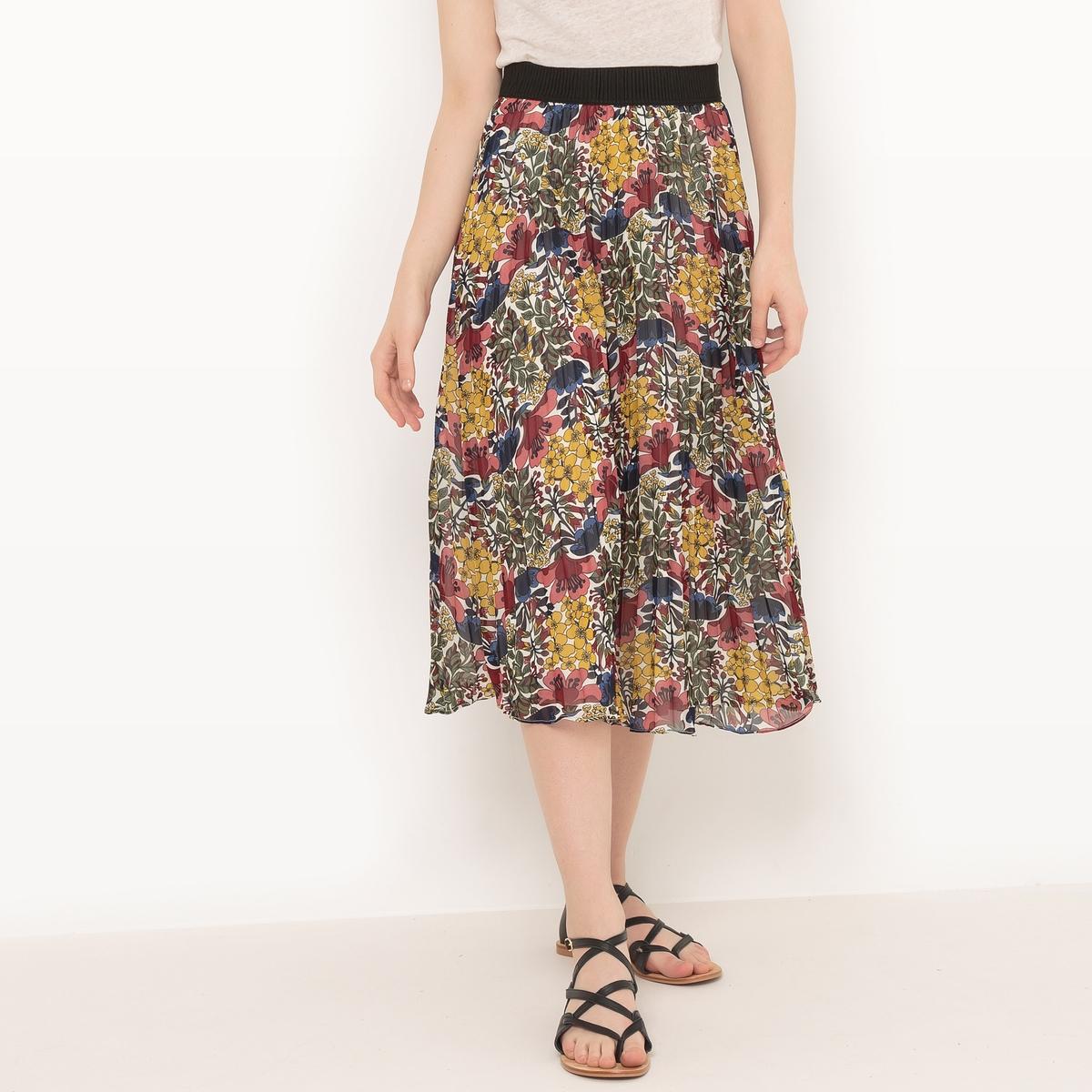 Юбка-миди с экзотическим рисункомМатериал : 100% полиэстер Особенность пояса : эластичный пояс Рисунок : цветочный Длина юбки : удлиненная модель<br><br>Цвет: рисунок/хаки