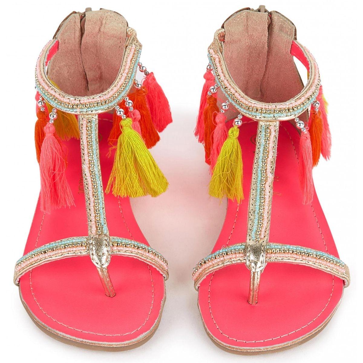 Sandales pompons et perles