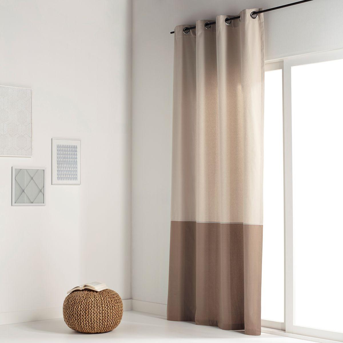 rideau bicolore pur coton oeillets aguri. Black Bedroom Furniture Sets. Home Design Ideas