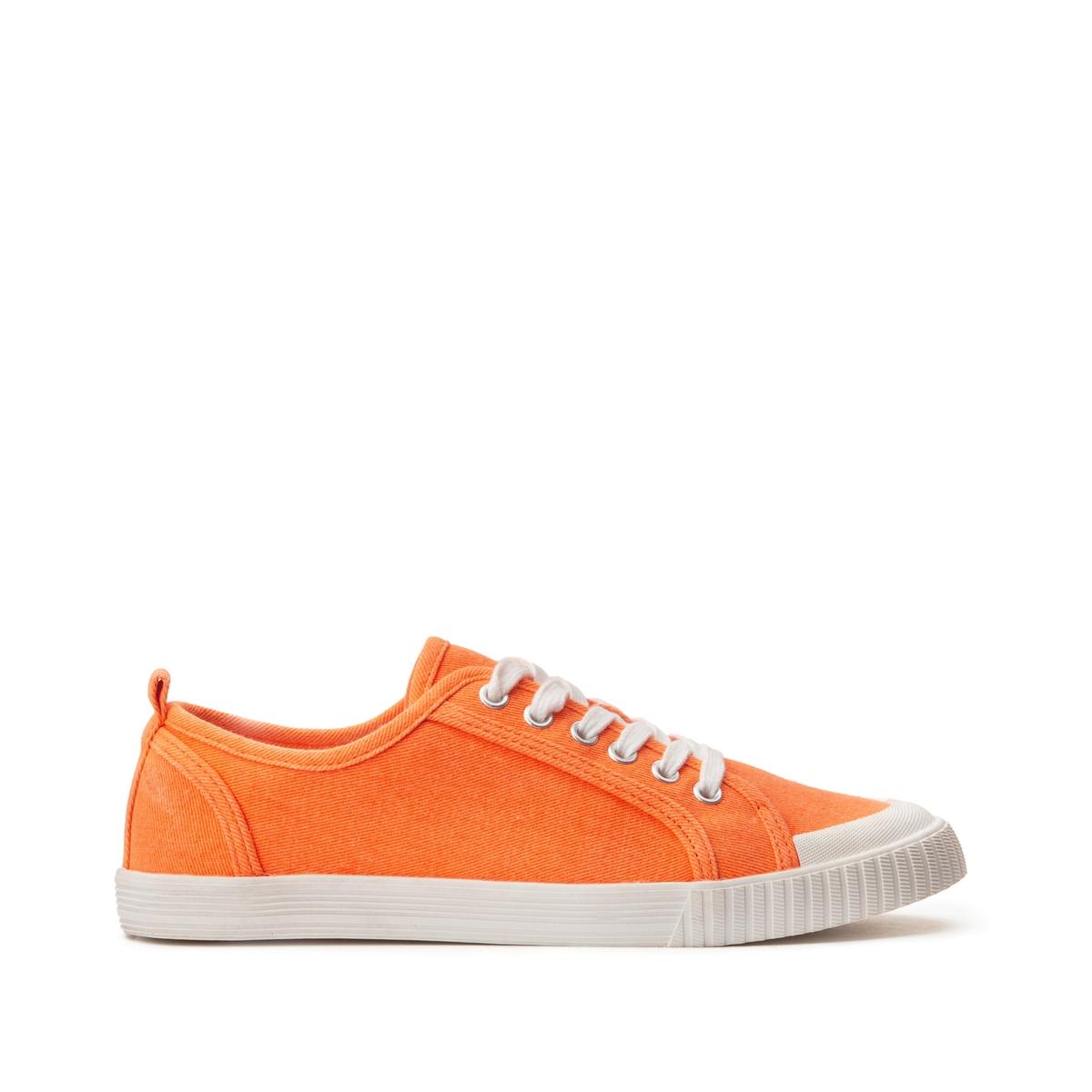цена Кеды La Redoute На шнуровке из окрашенной ткани 39 оранжевый онлайн в 2017 году