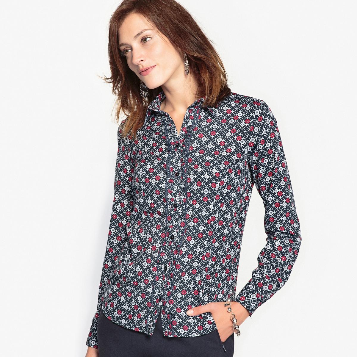 Блузка с рисунком из струящегося крепа