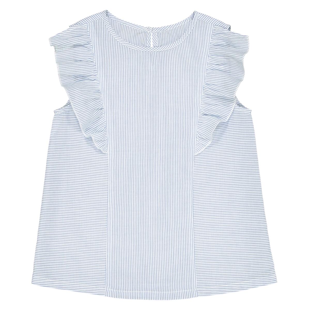 Блузка в полоску с воланами, 3-12 лет