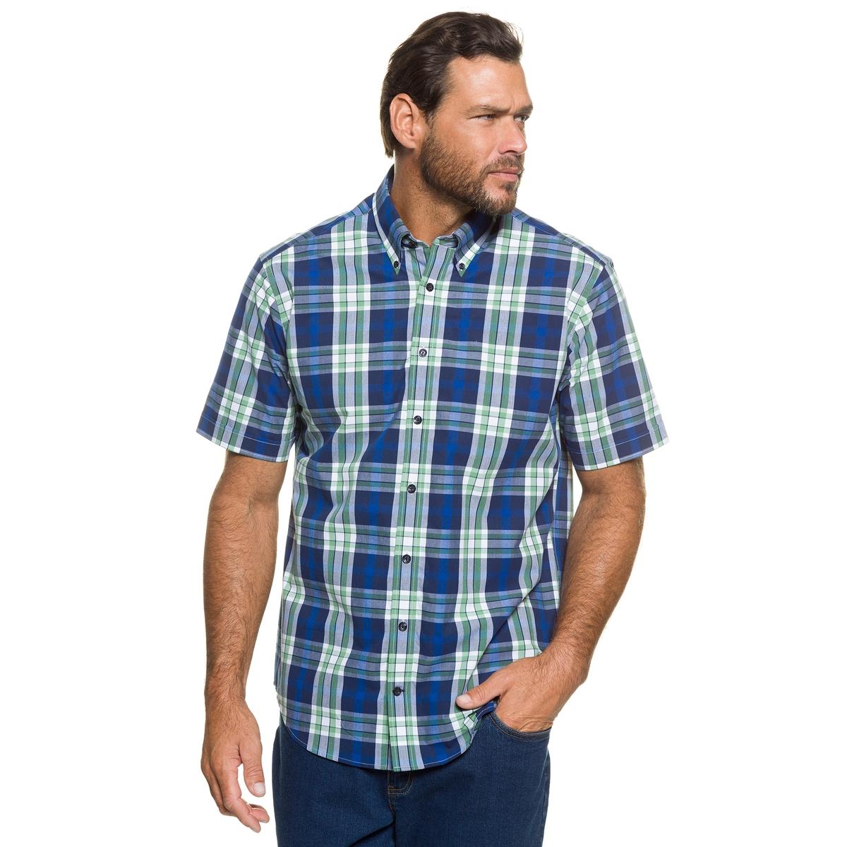РубашкаРубашка в клетку JP1880 с короткими рукавами, воротник с уголками на пуговицах, внутренняя поверхность воротника в клетку оксфорд. Слегка приталенный покрой, рубашку можно носить навыпуск. 100% хлопок. Длина в зависимости от размера. 78-94 см<br><br>Цвет: в клетку