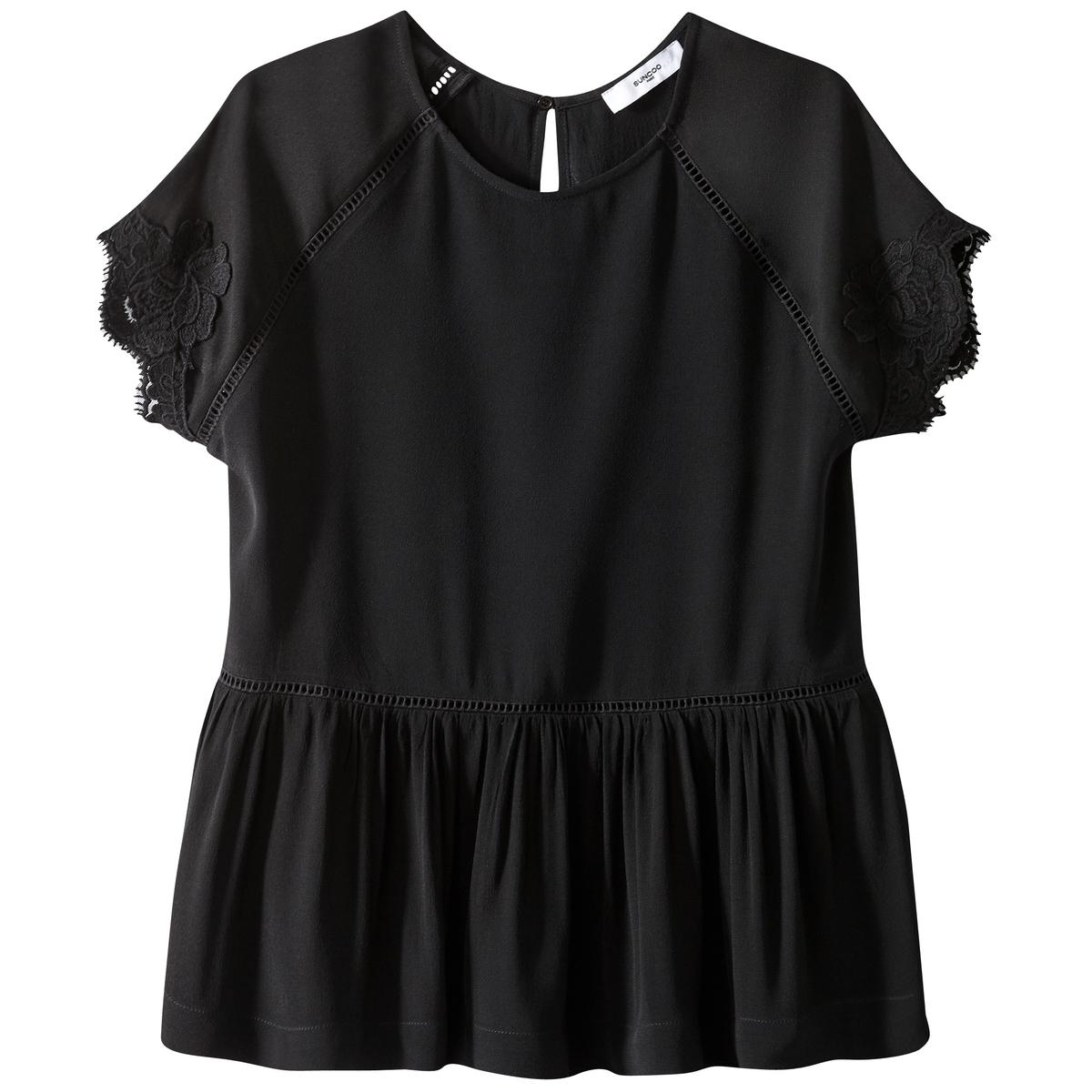 Блузка с круглым вырезом с вырезом-каплей
