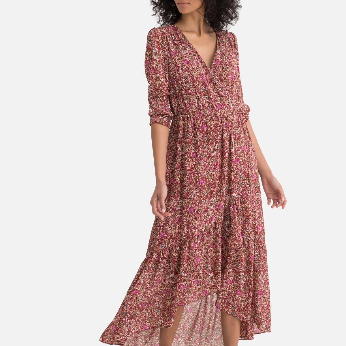 Платье La Redoute Длинное в богемном стиле с цветочным рисунком и длинными рукавами S оранжевый платье la redoute с цветочным рисунком короткими рукавами и воланами на груди s оранжевый