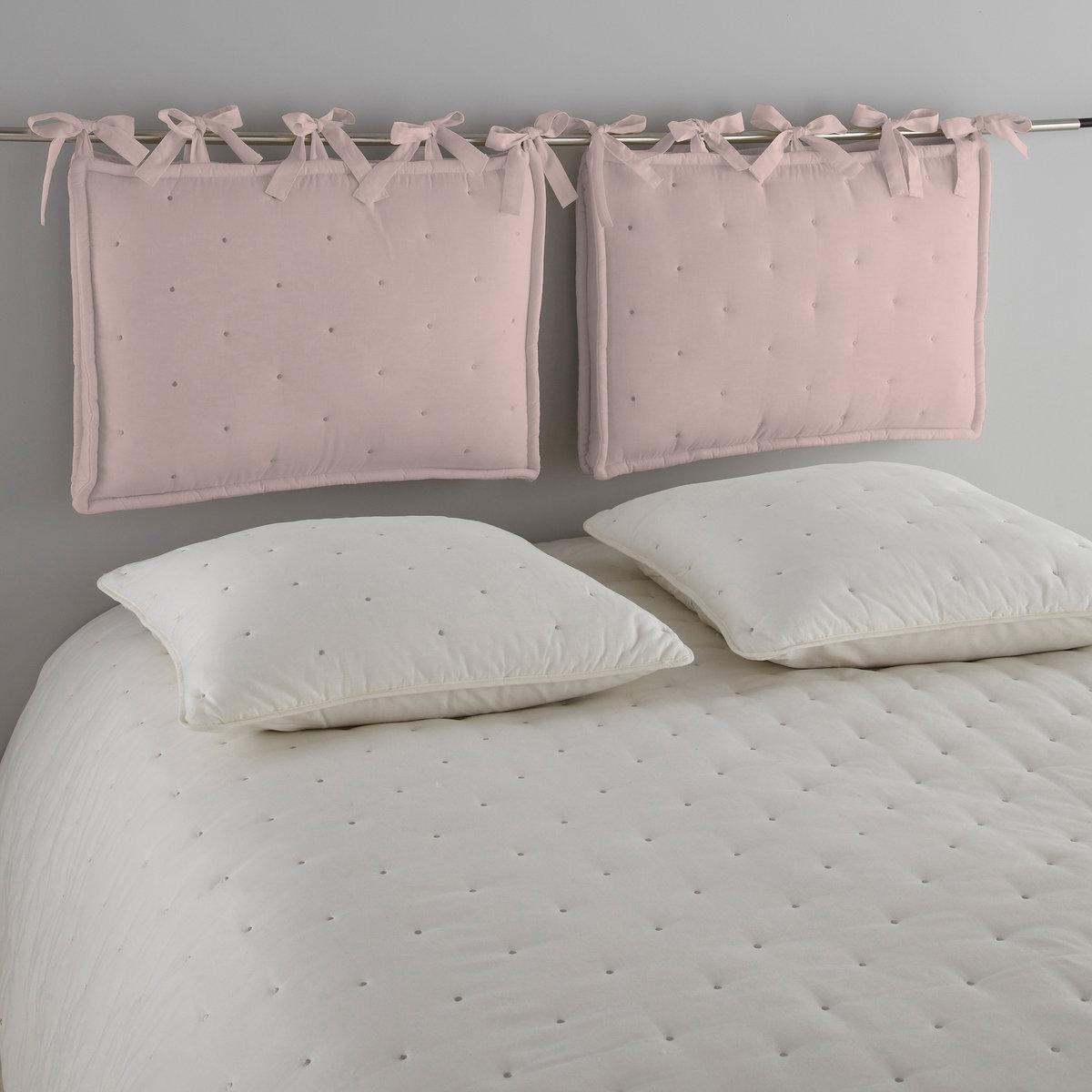 Подушка для изголовья кроватиСтеганая подушка для изголовья кровати A?ri. 100% хлопка. Контрастная вышивка кругами. Наполнитель из полиэстера (1100 г/м?). С широкими завязками. Толщина 11 см. Размер: 50 х 70 см.<br><br>Цвет: розовая пудра/серо-бежевый