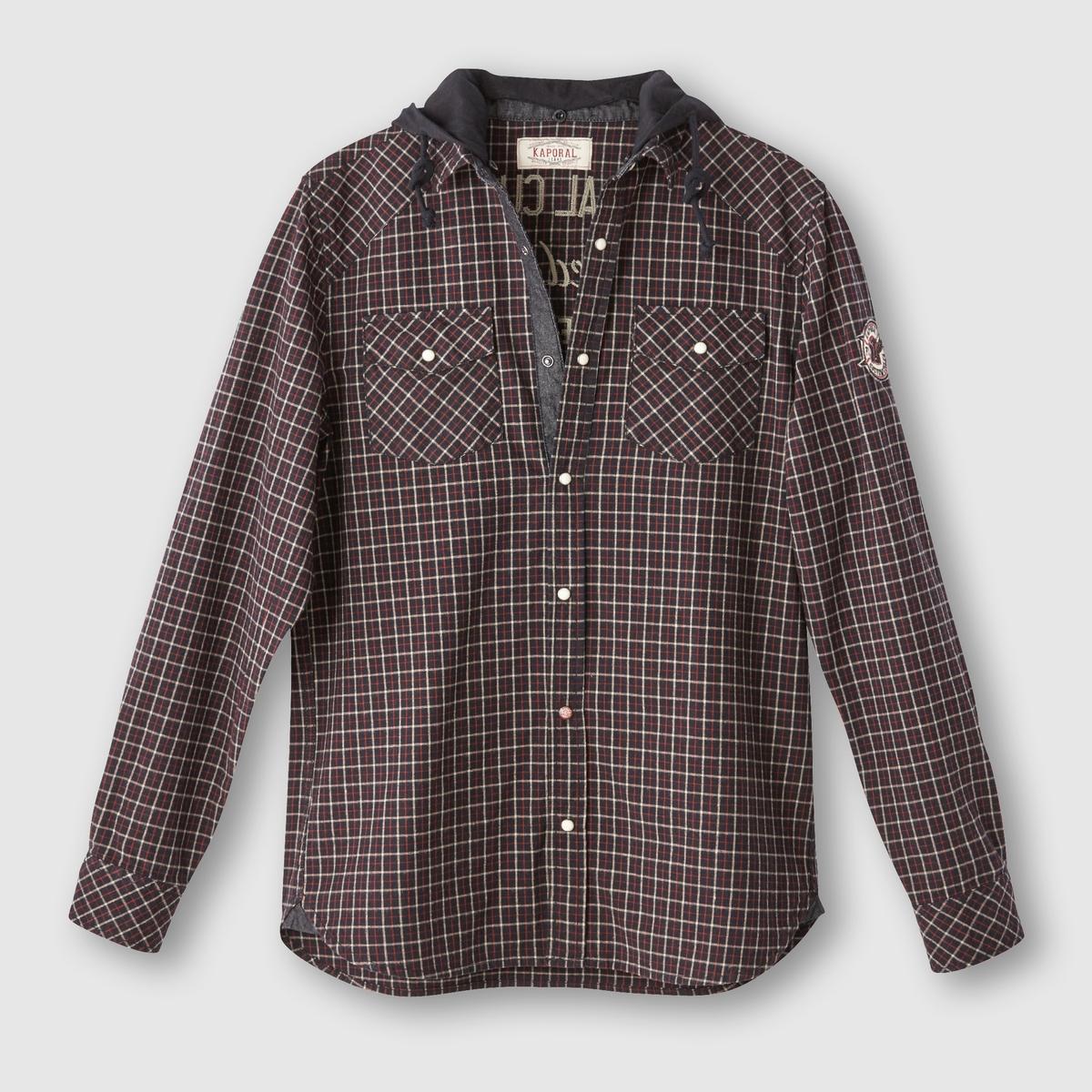 Рубашка в клетку с капюшономСостав и описаниеМатериал: 100% хлопка.Марка:  KAPORAL.<br><br>Цвет: в клетку черный/ белый