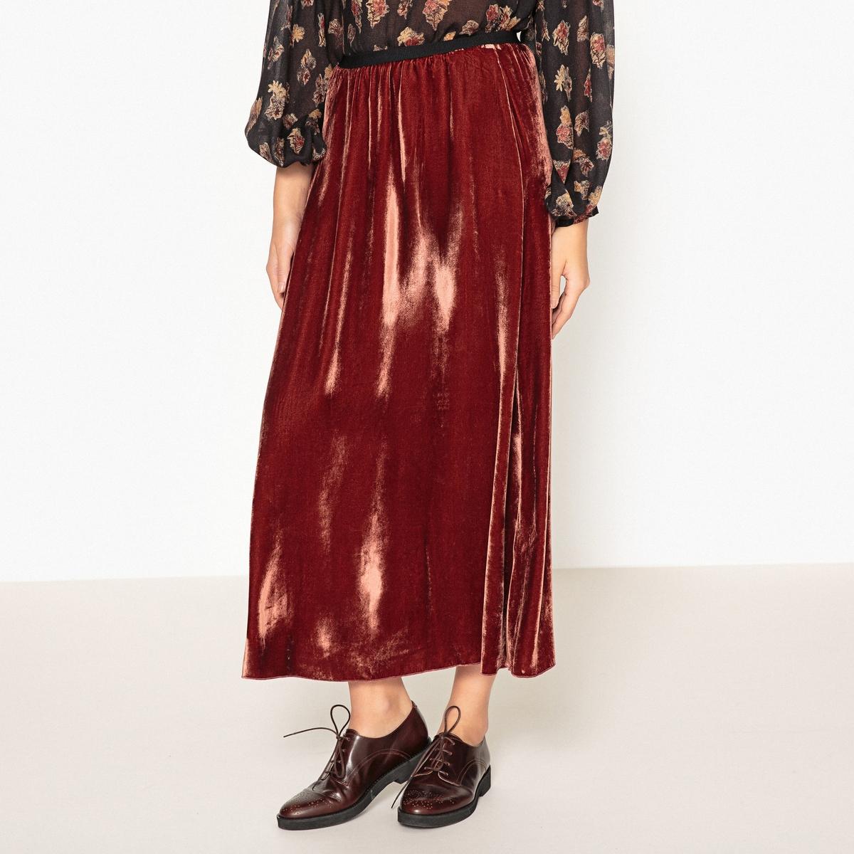 Юбка длинная JABOДлинная юбка DIEGA - модель JABO с эластичным поясом из однотонного велюра.Детали •  Форма : МАКСИ •  Длина ниже колен  •  Эластичный поясСостав и уход •  18% шелка, 82% вискозы •  Следуйте советам по уходу, указанным на этикетке<br><br>Цвет: красный