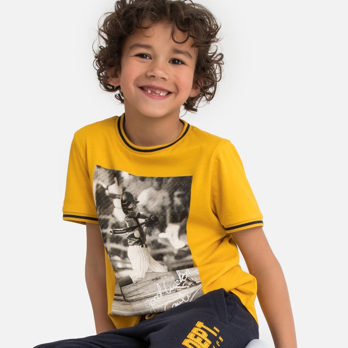 Футболка La Redoute С круглым вырезом короткими рукавами с принтом 3 года - 94 см желтый футболка la redoute с длинными рукавами 3 года 94 см оранжевый