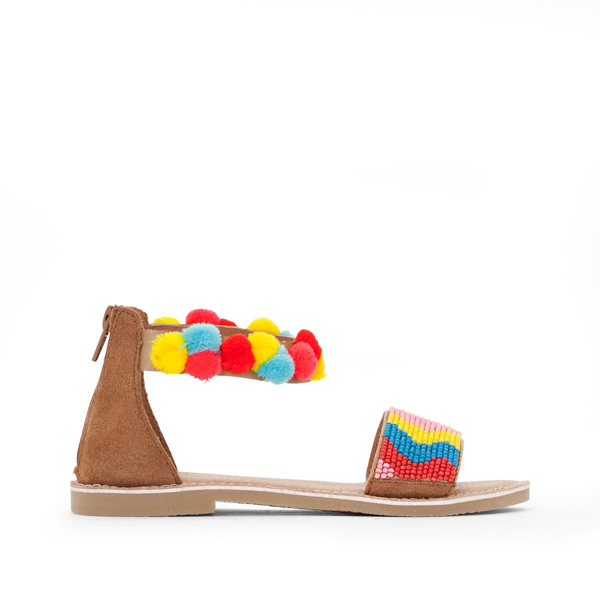 Сандалии кожаные, украшенные помпонами и бисером<br><br>Цвет: разноцветный<br>Размер: 35.31.34