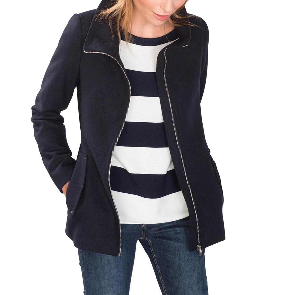 Пальто шерстяное драповое на молнииСостав и описаниеМатериал : 60% шерсти, 35% полиэстера,  5% прочих материаловМарка : EspritЗастежка : на молнию  Высокий воротник. 2 кармана. небольшие серебристые заклепки.<br><br>Цвет: темно-синий<br>Размер: 40 (FR) - 46 (RUS)