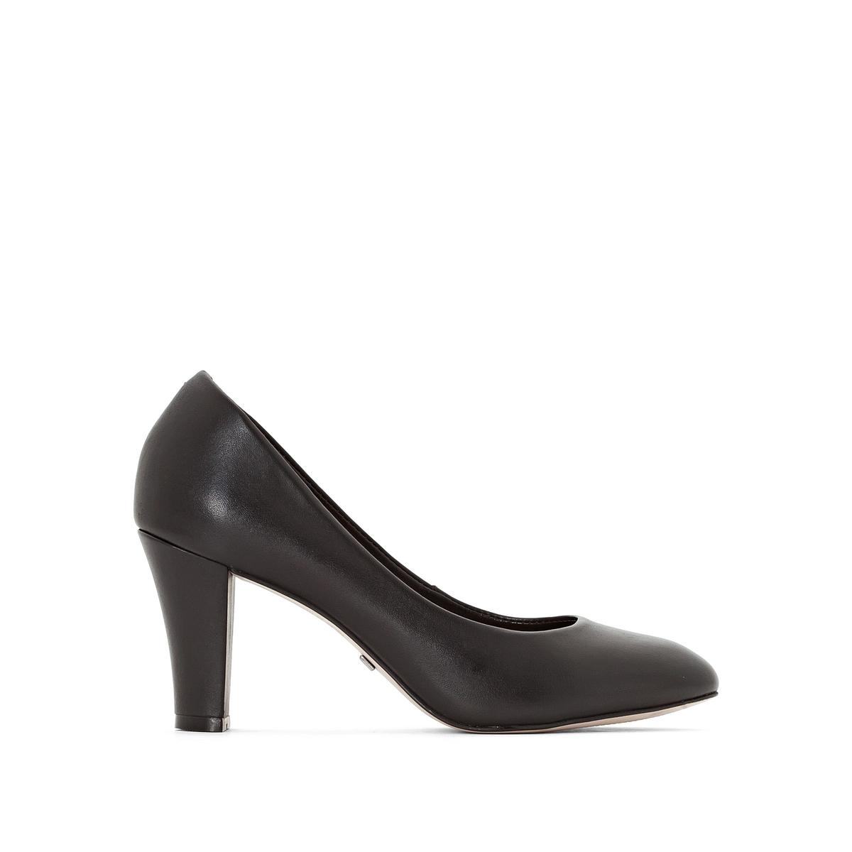 Туфли на каблуке,  ZS5700Подкладка: Кожа.  Подошва: Синтетический материал.                      Высота каблука: 8 см.Форма каблука: Широкая.   Мысок: Круглый.   Застежка: Без застежки.<br><br>Цвет: черный<br>Размер: 38.39