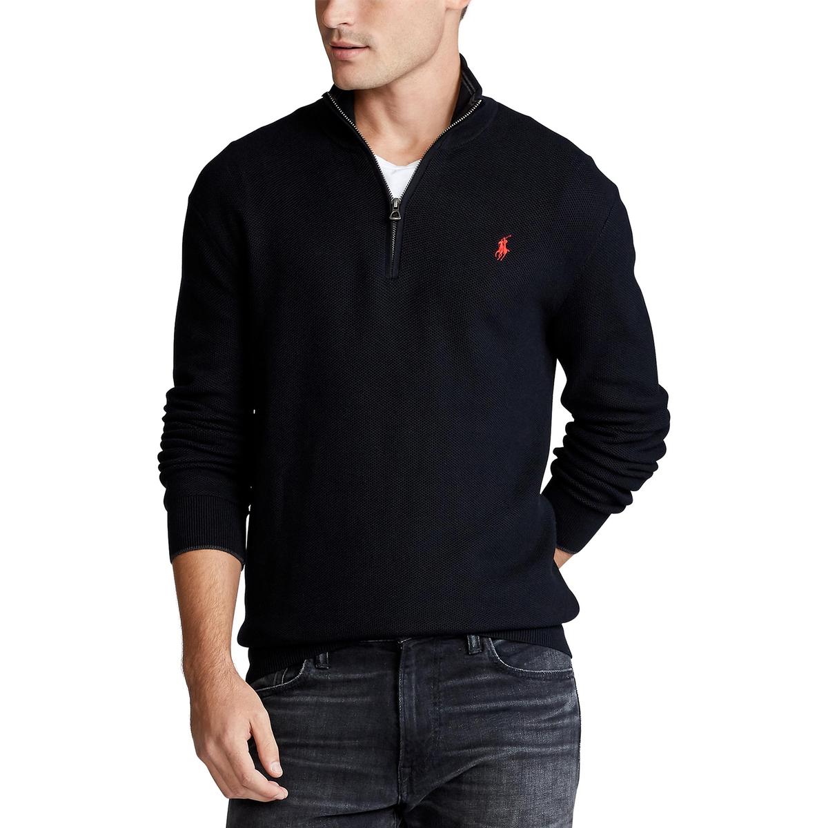 Пуловер LaRedoute С воротником-стойкой на молнии из хлопка Pima XL черный