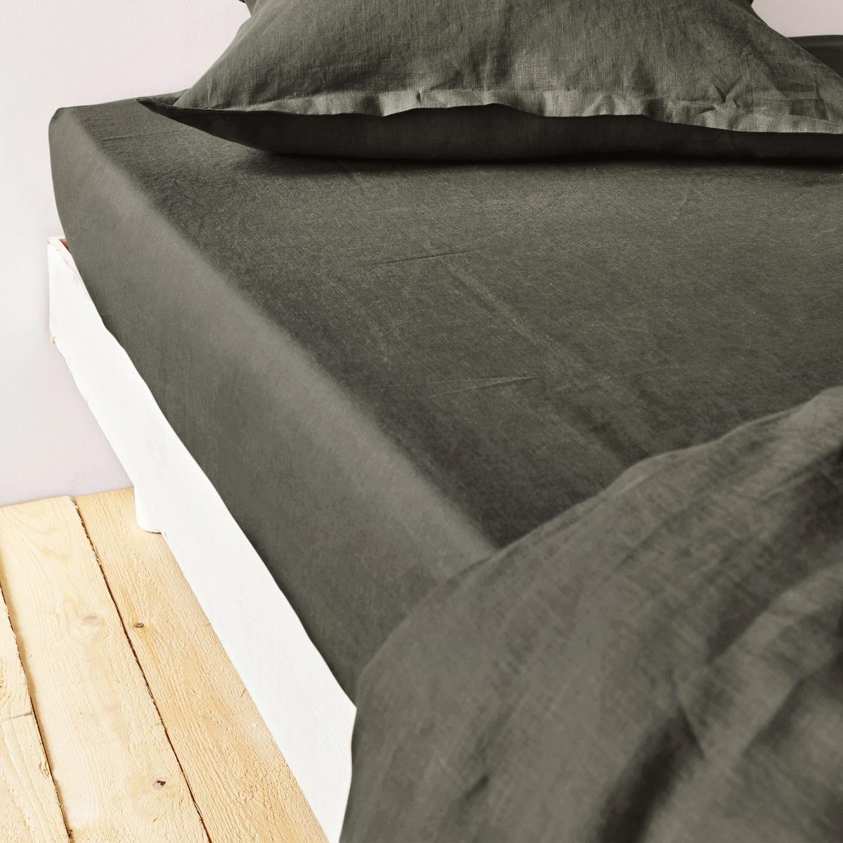 Натяжная простыня из 100% льна светлого цветаРоскошная гамма цветов для создания комплекта постельного белья по вашему желанию. Эта простыня будет долго радовать вас своим внешним видом и мягкостью ! Отлично сочетается с однотонным или цветочным рисунком.Клапан 30 см шириной.Машинная стирка при 60 °C.Знак Oeko-Tex® гарантирует, что товары протестированы и сертифицированы, не содержат вредных веществ, которые могли бы нанести вред здоровью. Размер:                                   090 х 190 см                                  180 x 200 см                                   140 x 190 см                                   160 x 200 см<br><br>Цвет: зеленый,кожа,серый хаки