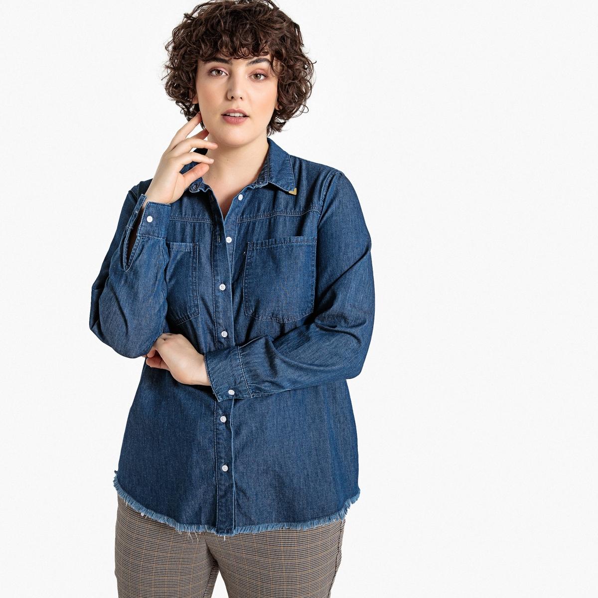 Рубашка La Redoute Джинсовая с длинными рукавами 46 (FR) - 52 (RUS) синий бушлат la redoute с рисунком клетка 34 fr 40 rus синий