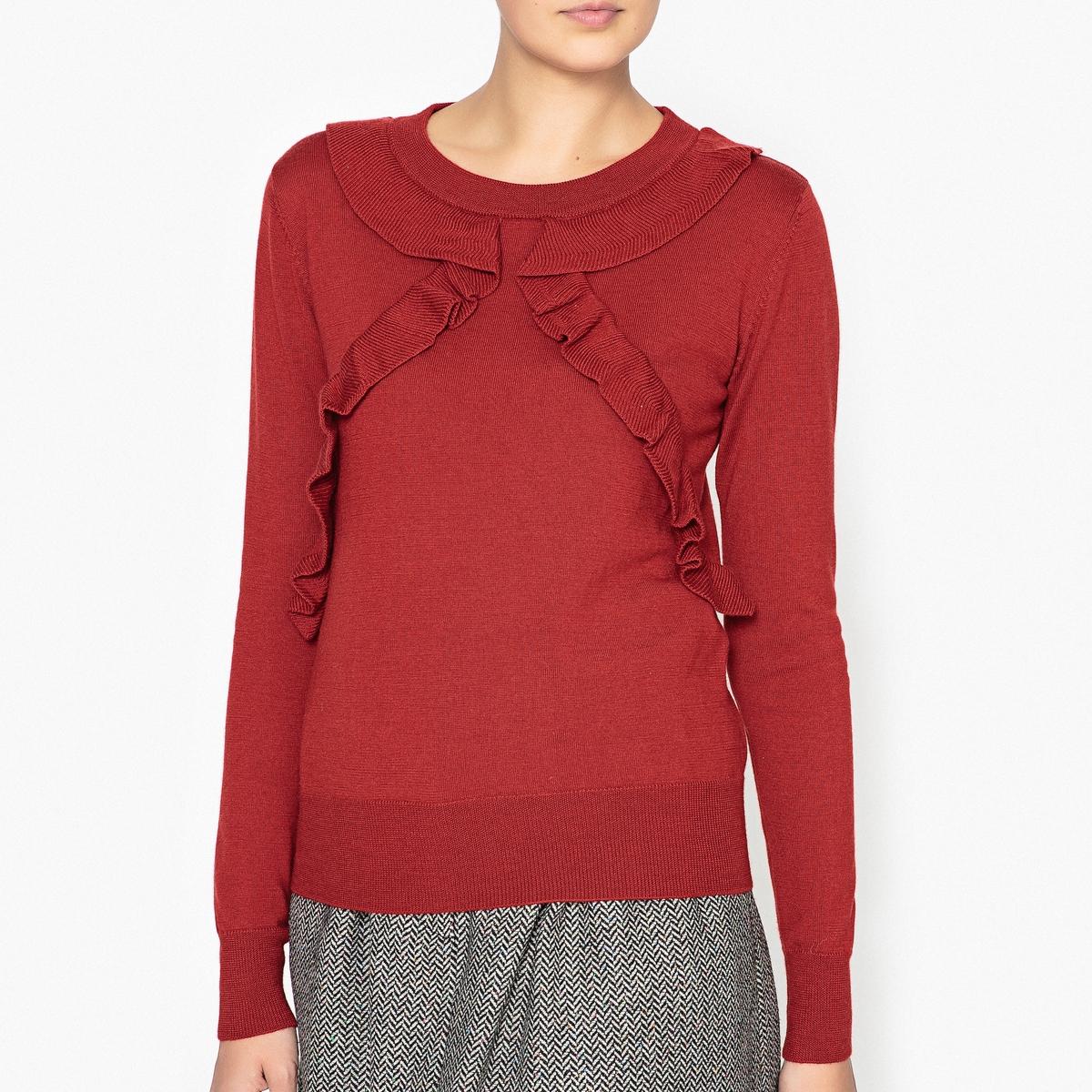 Пуловер шерстяной с воланами BARRIDAПуловер SESSUN - модель BARRIDA из 100% шерсти с воланами с каждой стороны на груди.Детали  •  Длинные рукава  •  Круглый вырез •  Тонкий трикотаж Состав и уход  •  100% шерсти •  Следуйте советам по уходу, указанным на этикетке   •  Края низа и манжеты связаны в рубчик<br><br>Цвет: красный,черный
