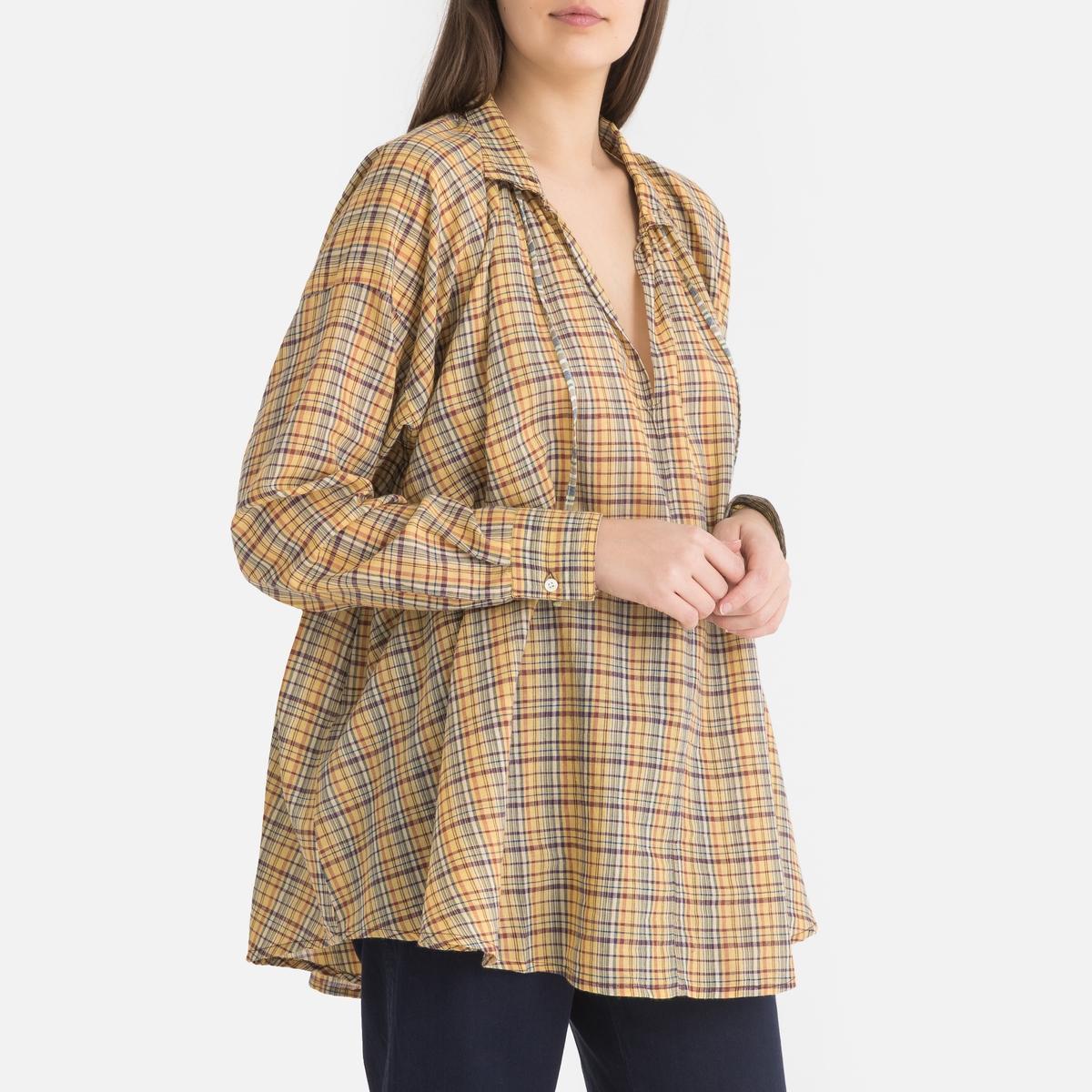 Блузка La Redoute В клетку свободного покроя с длинными рукавами 1(S) разноцветный