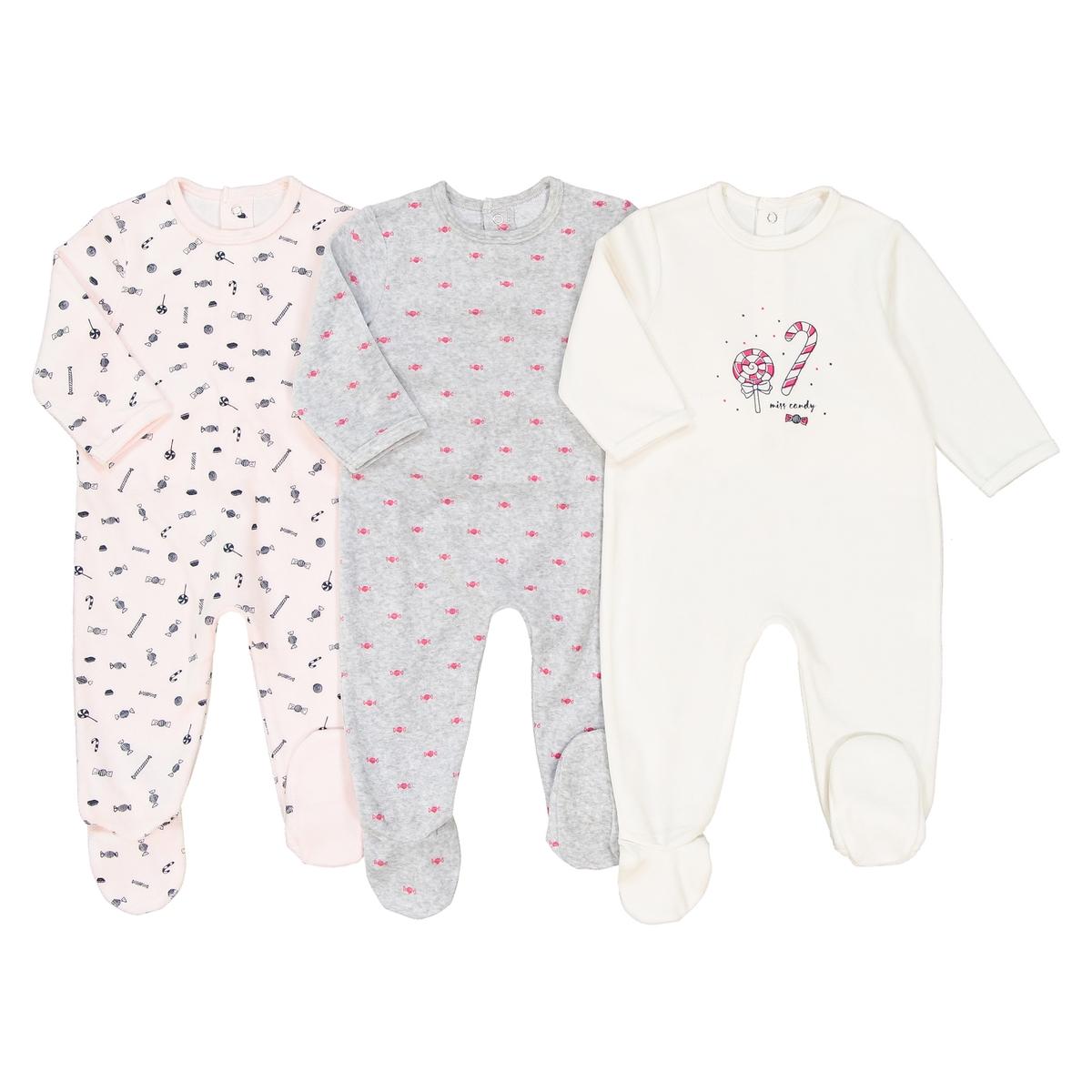 3 пижамы из велюра 0 мес - 3 года пижамы и ночные сорочки bambinizon пижама комбинезон на кнопках сафари