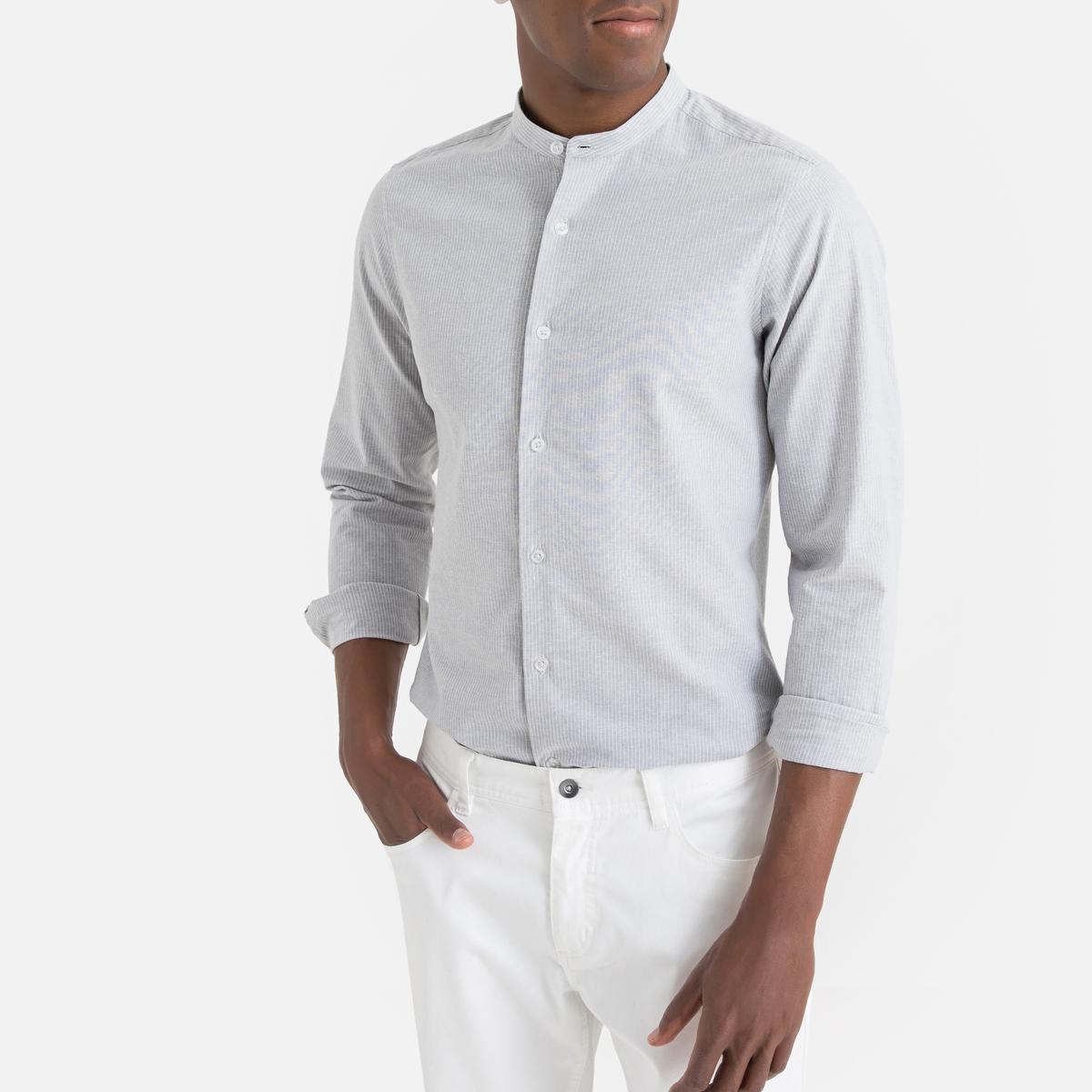 Camisa con cuello Mao de rayas finas, manga larga