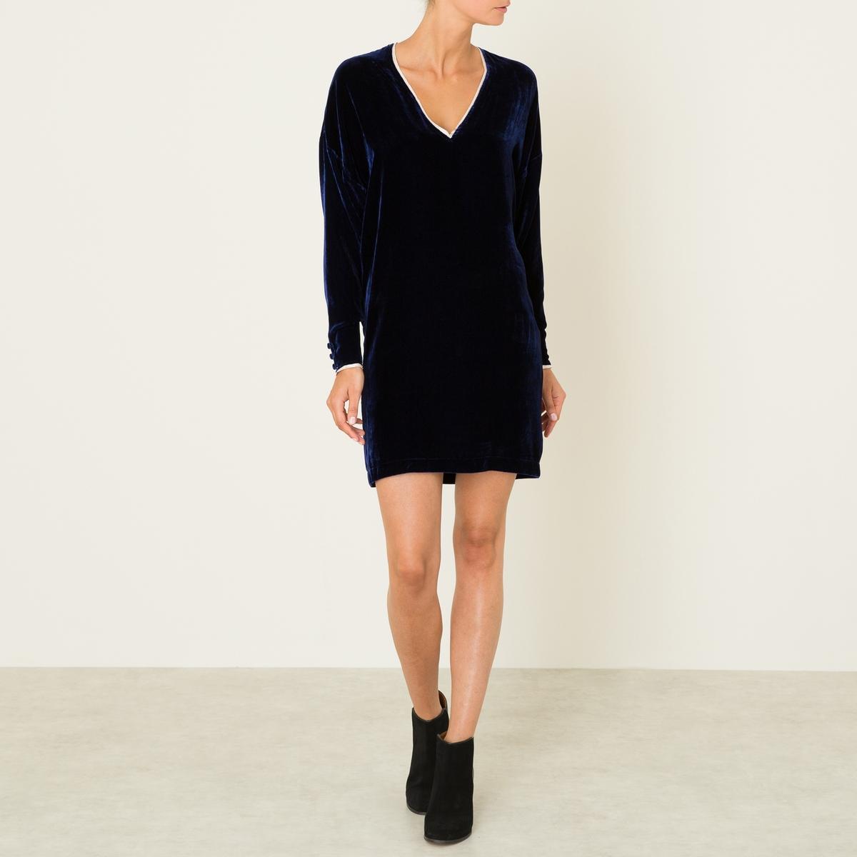Платье VICKY DRESSСостав и описание Материал : 82% вискозы, 18% шелка Длина : 94 см. (для размера 36) Марка : MES DEMOISELLES<br><br>Цвет: темно-синий