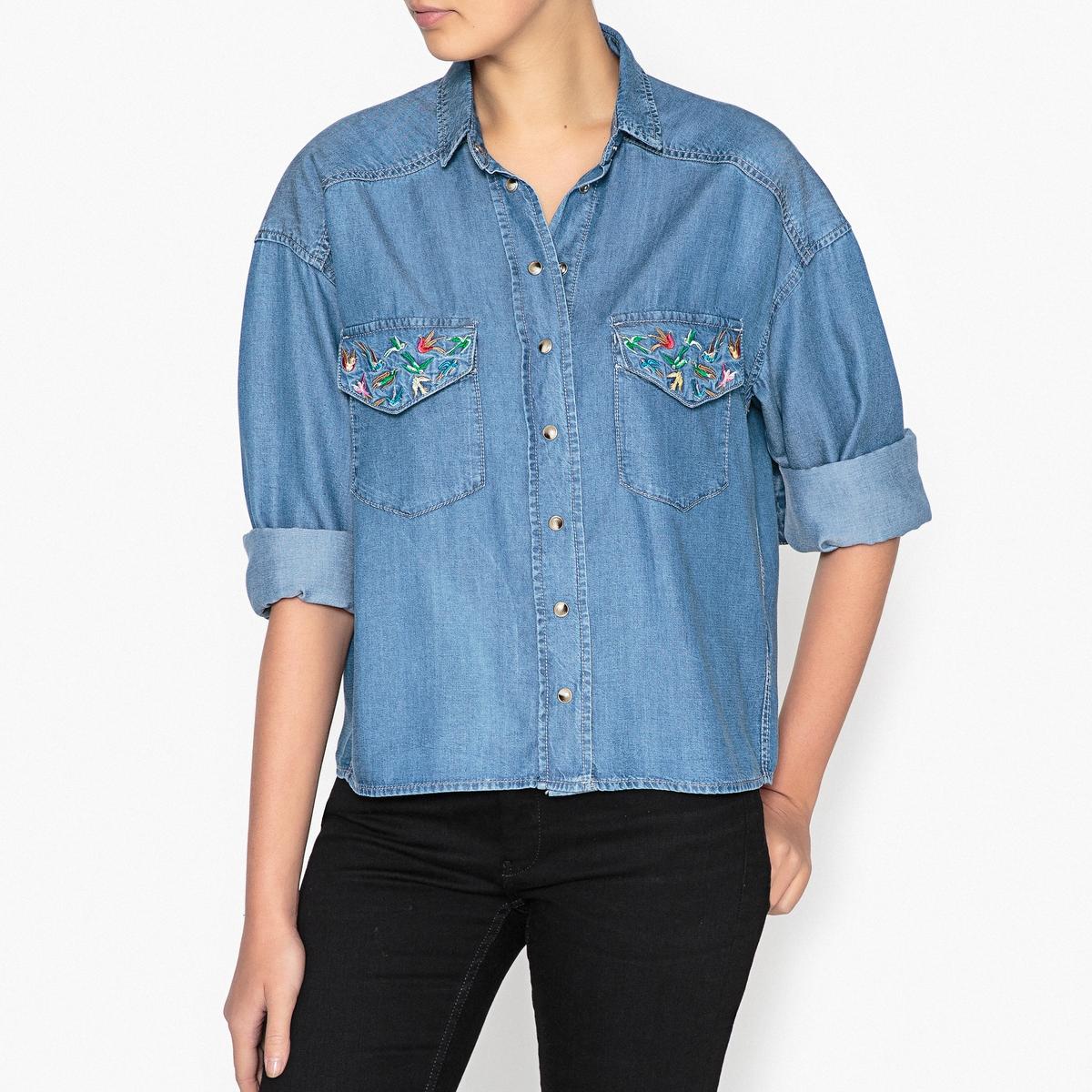 Рубашка с бисером на воротнике