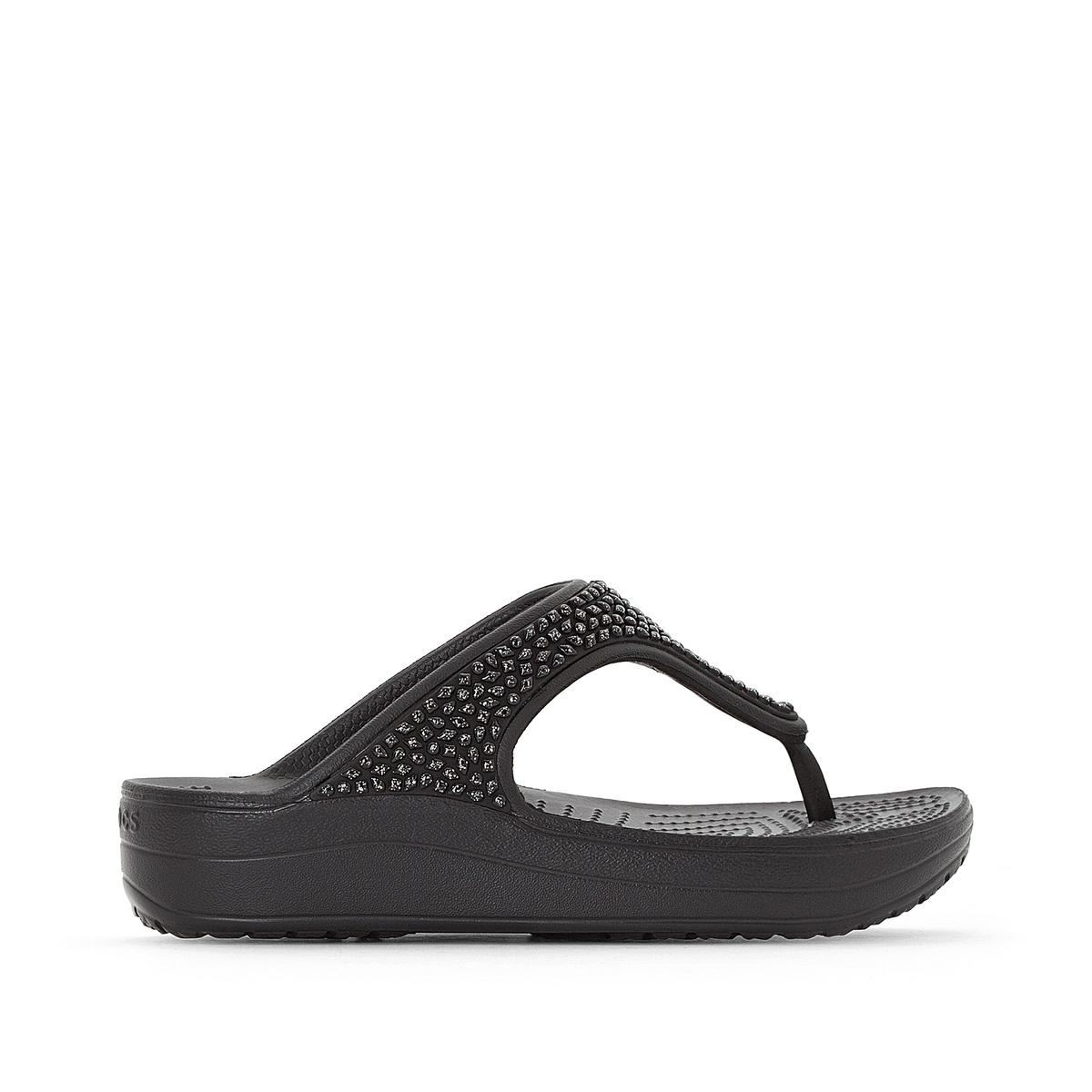 Вьетнамки на танкетке Crocs Sloane Embellished Flip rhinestone flower embellished heeled boots