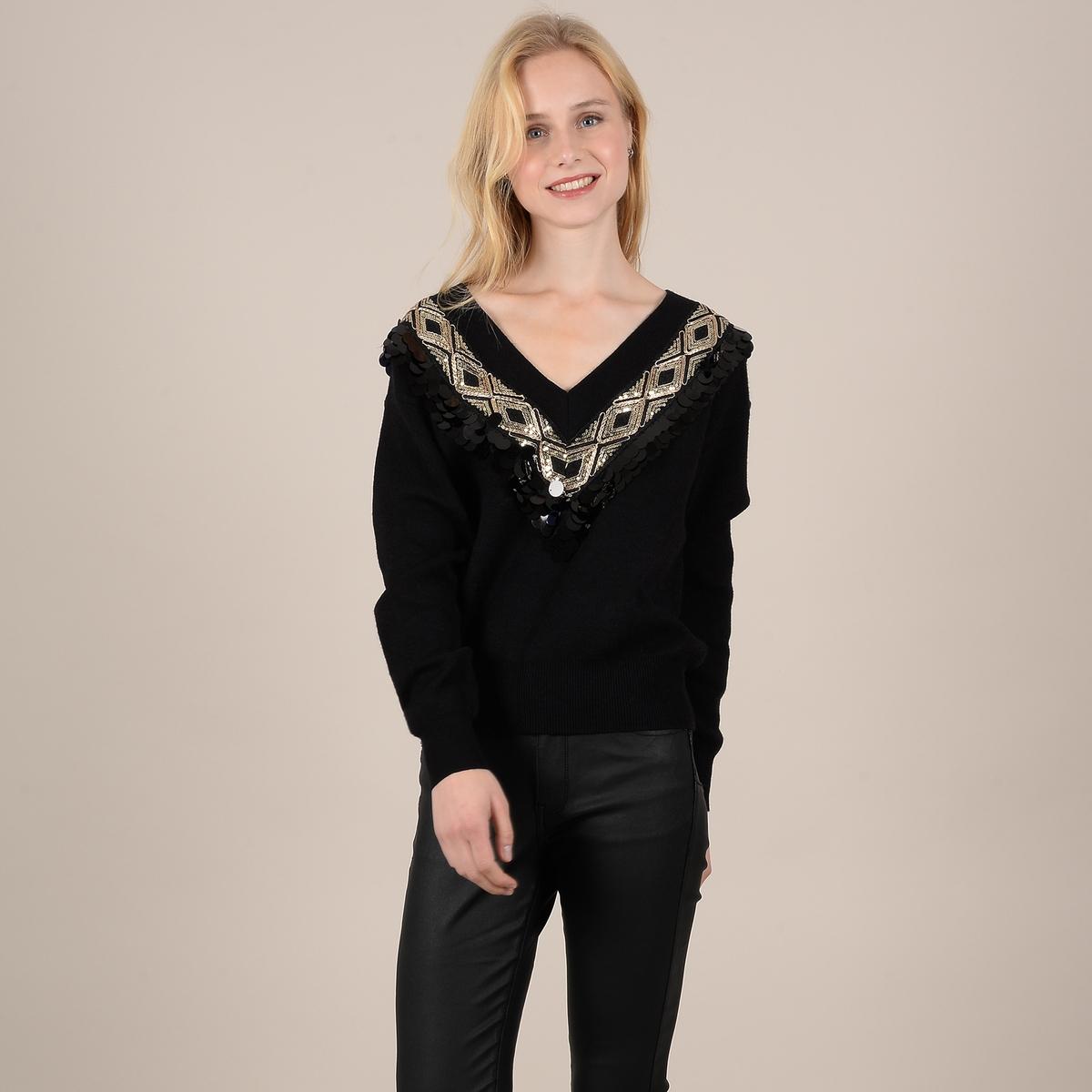 Пуловер La Redoute С V-образным вырезом с блестками и бусинами M черный цена 2017