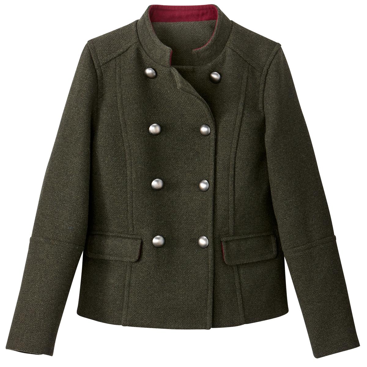 Пальто короткое 40% шерсти пальто рогожка драповое 60% шерсти