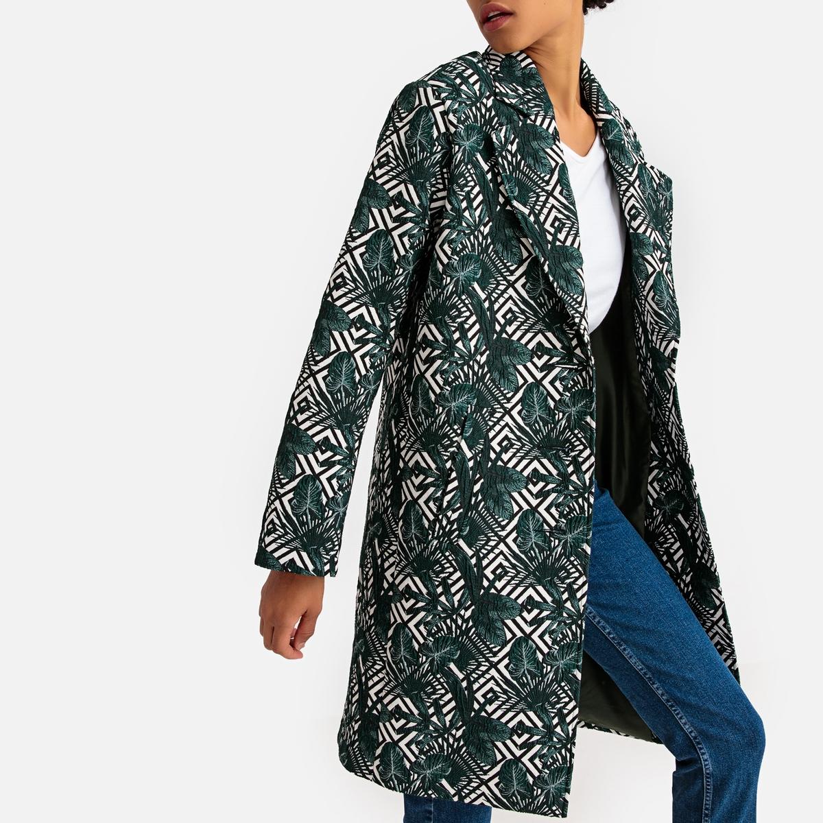 Пальто средней длины с жаккардовым принтом