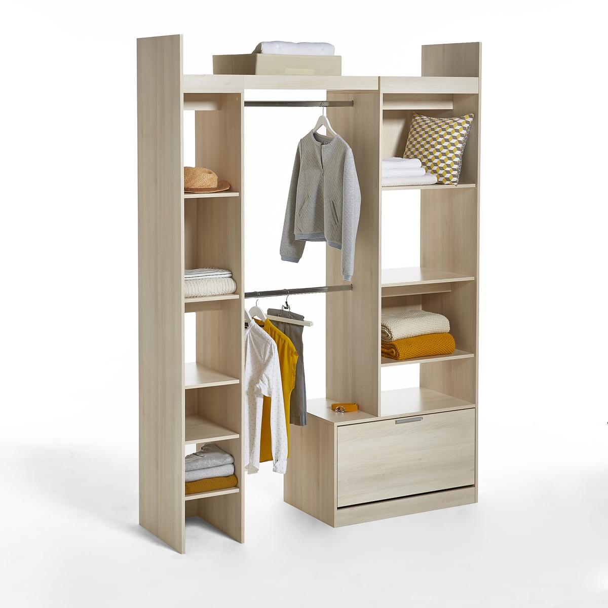 Шкаф LaRedoute Платяной модульный с этажерками и 2 отделениями для вешалок Yann единый размер каштановый