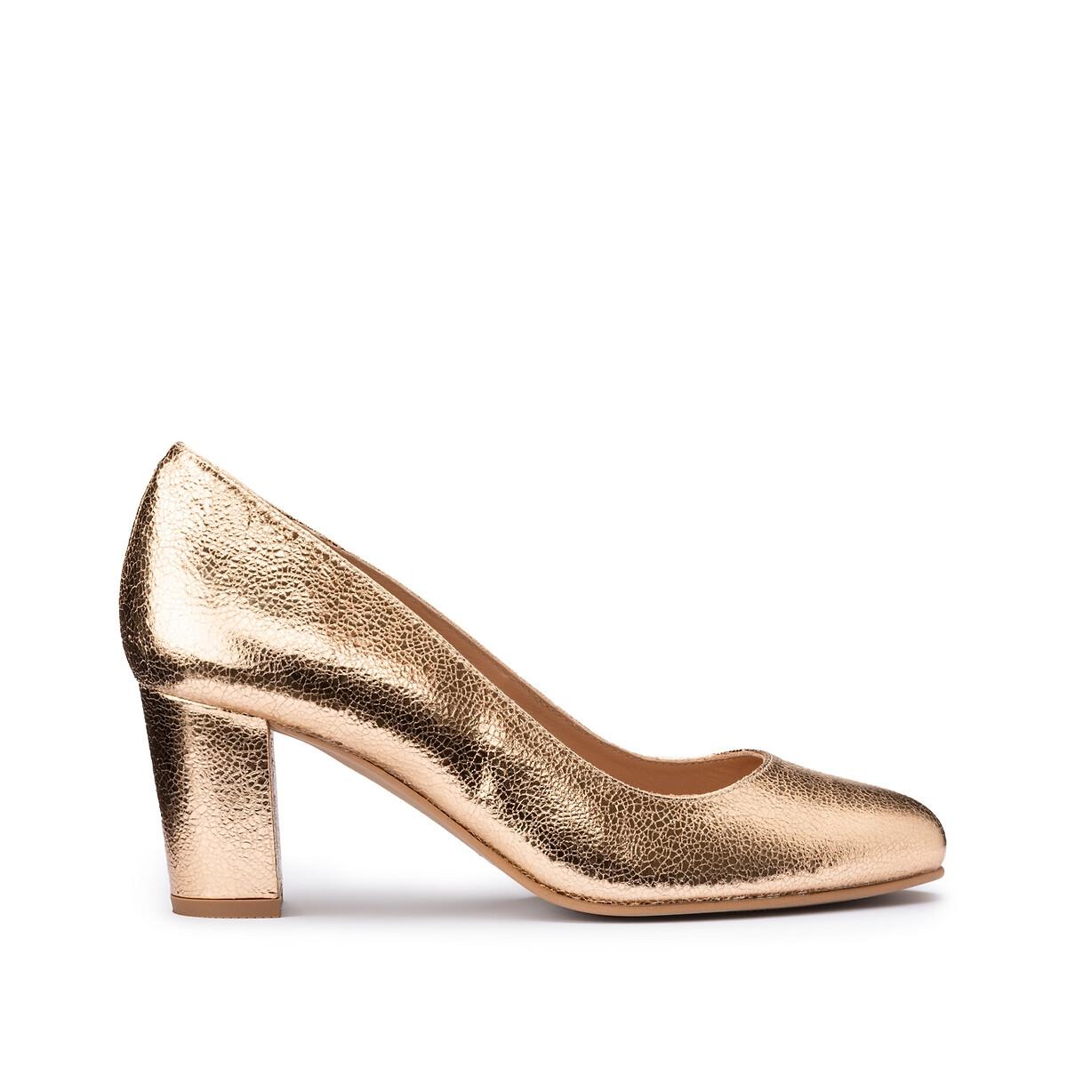 Туфли LaRedoute Кожаные на широком каблуке 39 золотистый