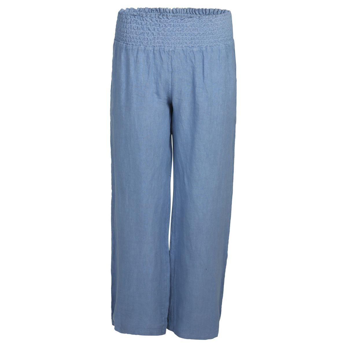 Pantalon en lin ceinture smockée